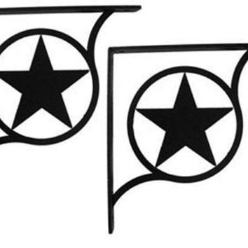 Wrought Iron Rodeo Star Shelf Brackets Corner Accent -3 Sizes Available