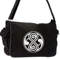 Seal of Rassilon Large Messenger Bag - Dr Who Shoulder Laptop Bag - White Design
