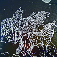 Wolves Hand Engraved Glass Dimensional Picture by SeventhChild