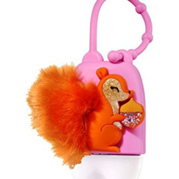 Bath and Body Works - Fuzzy Squirrel and Acorn Pocketbac Holder - Glow in the Dark LED Light-up - Holds any new style Bath & Body Works 1.0 fl oz anti-bacterial hand sanitizer pocketbac gel