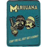 Cheech & Chong Men's Can't We All Embroidered Patch Blue