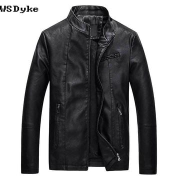 Autumn Casual Stand Collar Leather Jacket Men Coats Stylish Lining Fall Jackets