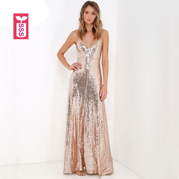 SSS High-end Banquet Womens Formal Party Gold Sequins Mopping Floor Full Dress High Waist Sleeveless Backless Maxi Dress