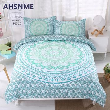 Cool AHSNME Bohemian Bedding Set Gradient Color Duvet Cover Soft Bohe Bed Set Green Mandala Quilt Cover Sets King Queen 3pcsAT_93_12
