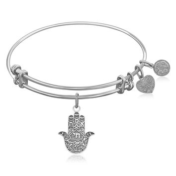 Expandable Bangle in White Tone Brass with Hamsa Hand Symbol