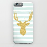 Gold Deer on Mint Watercolor Stripes iPhone & iPod Case by Heartlocked