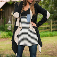 Color Block Elbow Patch Long Sleeves Open Front Cardigan