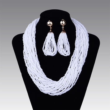 New Fashion jewelry bead necklace nigerian wedding african beads seed bead necklace earring sets