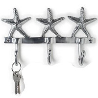 "8"" Metal Silver Aluminum Starfish Star Fish Wall Triple Hanger Hook Rack"