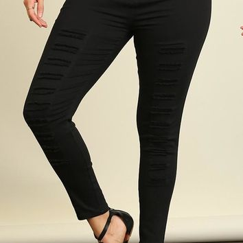 High Waist Distressed Plus Jeggings