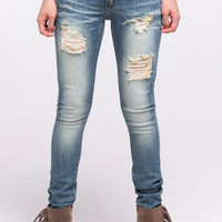 (alq) Machine medium stone wash distressed skinny jeans