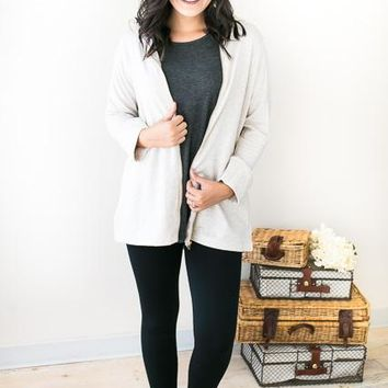 So Lovely Oatmeal Zip Up Cardigan