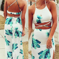Printed Halter Neck sexy long dress