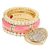 Max & Chloe - Lauren G. Adams Pink Pave Heart Stackable Ring Set - Max and Chloe