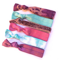 Tiger Lily Set (hair ties) Cute bundle of tie dye and glitter French Ties