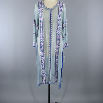 Vintage 1970s Silk Chiffon Tunic Dress / Embroidered Beaded Caftan