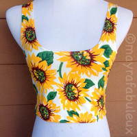 Sunflower Crop Top (sleeveless) -Mayrafabuleux Exclusive Design