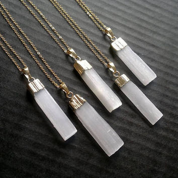 Selenite Necklace Selenite Pendant Selenite Jewelry White Stone Necklace White Stone Pendant White Stone Jewelry Gold Dipped Crystal Pendant