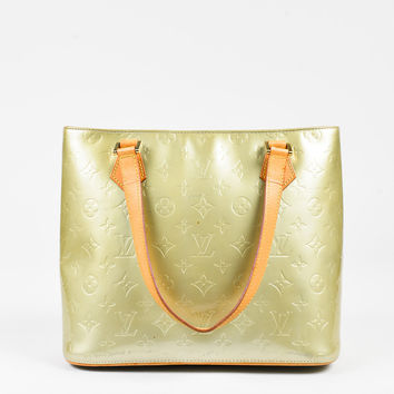"Louis Vuitton Gold Blue Vernis Leather Tan Handle ""Houston"" Tote Bag,wanelo love need stylish yellow leather"