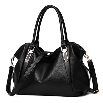 New Woman Bag PU high capacity leisure solid color soft  shoulder Woman Handbag Mobile phone documents