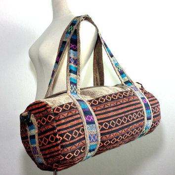 Round duffle bag cross-body, Hippie Weekender bag, Tribal Travel bag, Compact Journey bag, Sport Gym bag For Men Women, Holdall