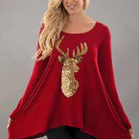 Sequined Reindeer Tunic Top - Red