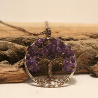Tree Of Life Necklace Amethyst Pendant Silver Chain Brown Wire Wrapped Tree Semi Precious Gemstone Jewelry February Birthstone Jewelry