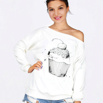White Off Shoulder Cake Print Sweatshirt