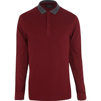 River Island MensDark red contrast collar polo shirt