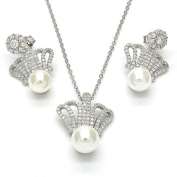 Sterling Silver 10.175.0034 Necklace and Earring, Crown and Ball Design, with White Micro Pave and Ivory Pearl, Polished Finish, Rhodium Tone