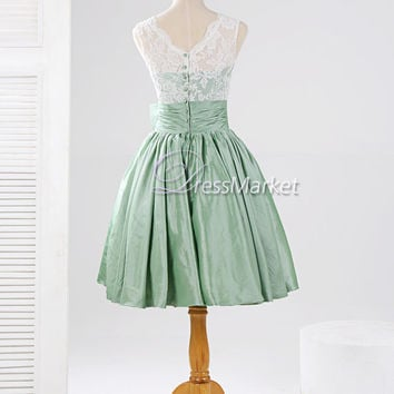 Knee length green taffeta white lace bowknot homecoming dress,Short lace Bridesmaid dress,Ling green wedding party dress,Short prom dress
