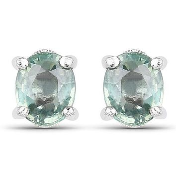 Gorgeous Natural Oval Cut .62CT (each) Green Sapphire Stud Earrings