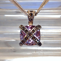 Vintage Amethyst Cushion Cut Sterling Silver Marcasite Necklace Italy