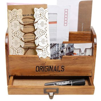 Multifunction Wooden Home Office Desk Paper File Letter Mail Box Storage Sorter Holder Desktop Key Pen Pencil Organizer