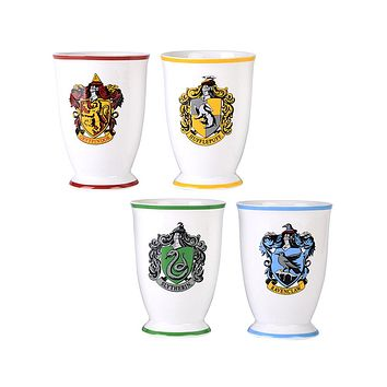 Harry Potter Mug Drinking Glass Goblet Cup Set 12 Oz. Hogwarts Houses (Gryffindor, Slytherin, Hufflepuff, Ravenclaw)