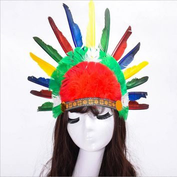 Hot Halloween Carnival Colorful Feather Party Hats Headband Indian Style Headwear Villus Chiefs Cap Party Headdress