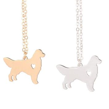 Sweet Golden Retriever Dog with Cutout Heart Necklace Charm Pendant Necklace Choose Gold/Silver Tone