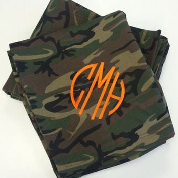 NEW Camo Monogrammed Sweatshirt Stadium Hunting Blanket  Font shown NATURAL CIRCLE in Orange