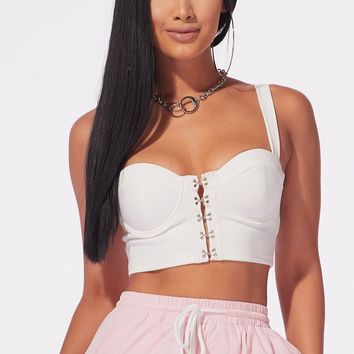 Could You Love Me Bustier Crop Top White