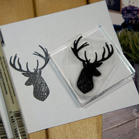 Hipster Rubber Stamp Deer Head Rubber Stamp - 2x2 Inches