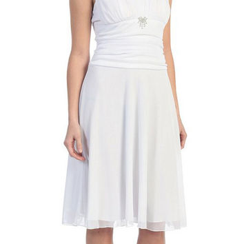 Short White Dress Knee Length Bridesmaid Chiffon Wide Straps