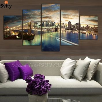 Free shopping 5 Panels high quality Home Decor Wall Art Painting of New York at night Artwork Custom Sale--Modern City Pictures