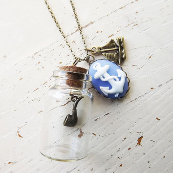 Pipe in a Bottle with Cork Lid, Nautical Anchor Cabochon and Sail Boat Charm Necklace