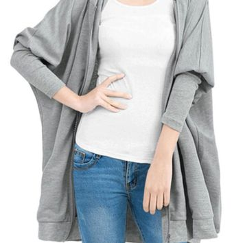 Gray Bat Sleeve Hooded Zip-Up Long Jacket