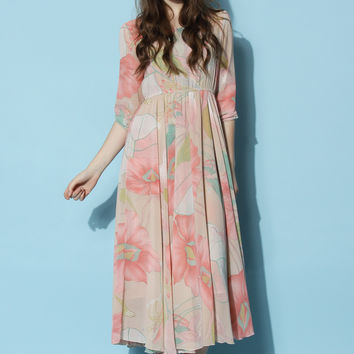 Spring Scenery Floral Maxi Dress Multi