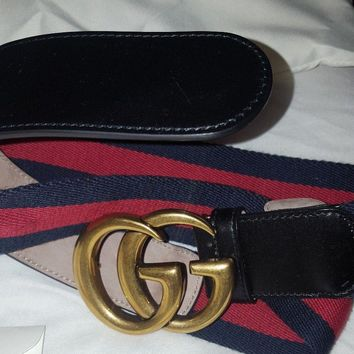 Gucci Nylon Web belt 80 with Double G buckle Marmint Blogger