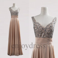 Custom Hot Champagne Beaded Long Bridesmaid Dresses 2014 Prom Dresses Evening Gowns Wedding Party Dresses Party Dresses Cocktail Dress