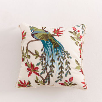 PEACOCK ACCENT PILLOW . Beautiful Embroidery.Throw Pillow.Dazzling Colors.Decorative Pillow.Beaded Trim.Decor Pillow.Faux Fur Backing
