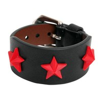 Red Stars Leather Cuff by Givenchy
