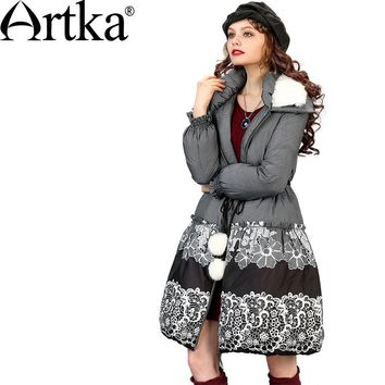Artka Women's Winter Warm Printed Cinched Waist Outerwear Vintage Long Sleeve Down Coat With Removale Rabbit Fur Collar ZK11266D